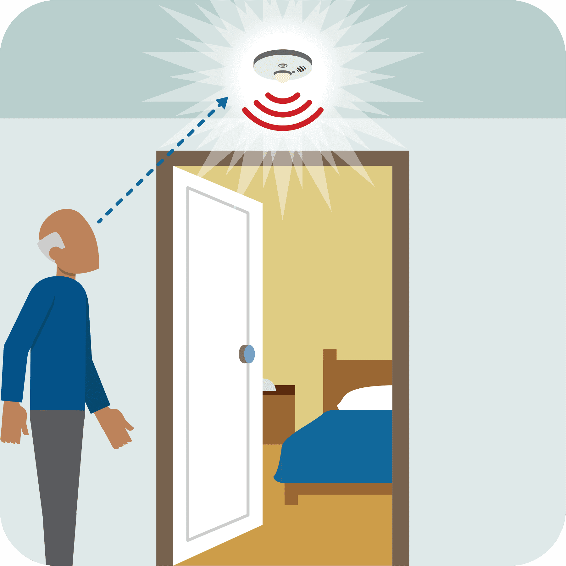 An older man sees the activated strobe light smoke alarm.