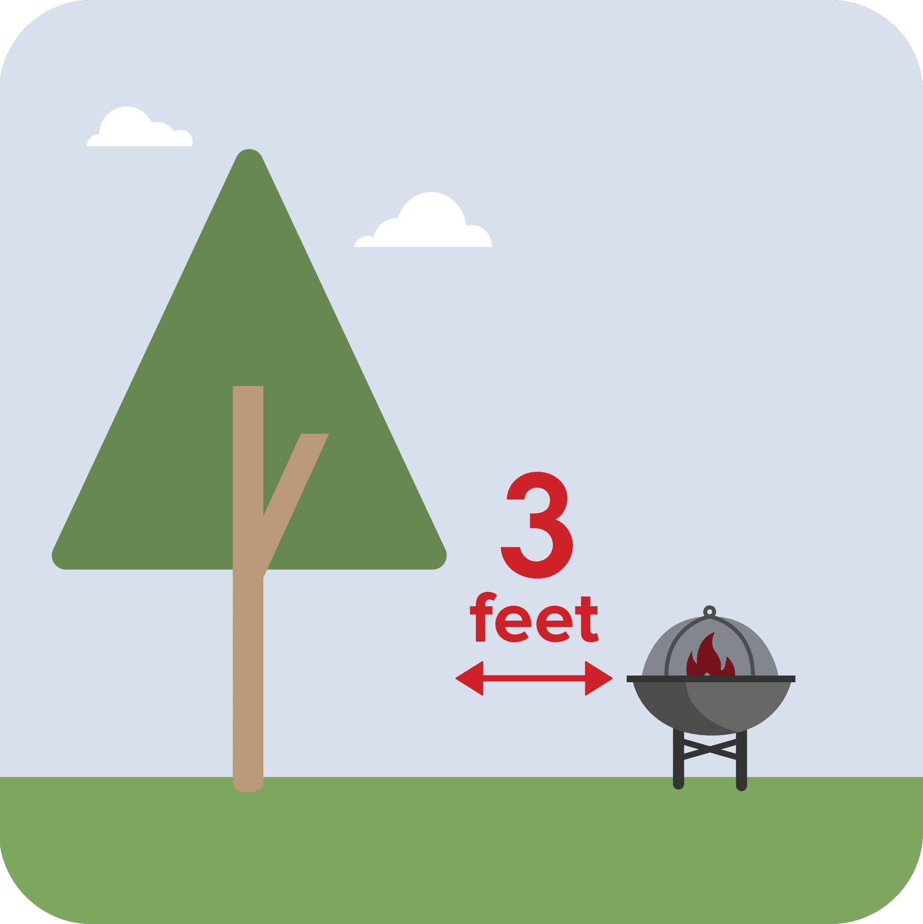 A fire pit shown 3 feet away from a tree.