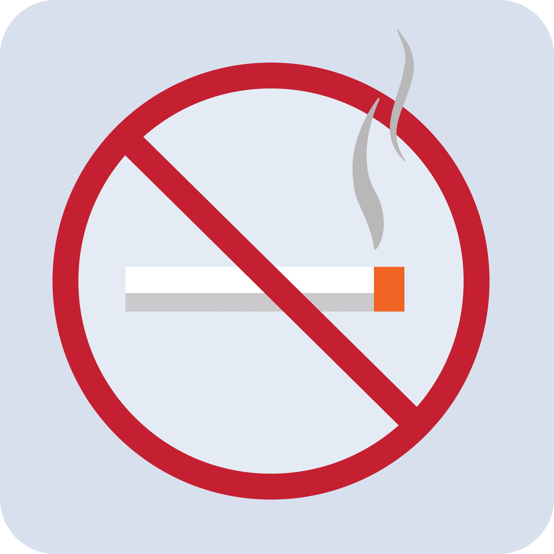 A lit cigarette with a no symbol over top of it.