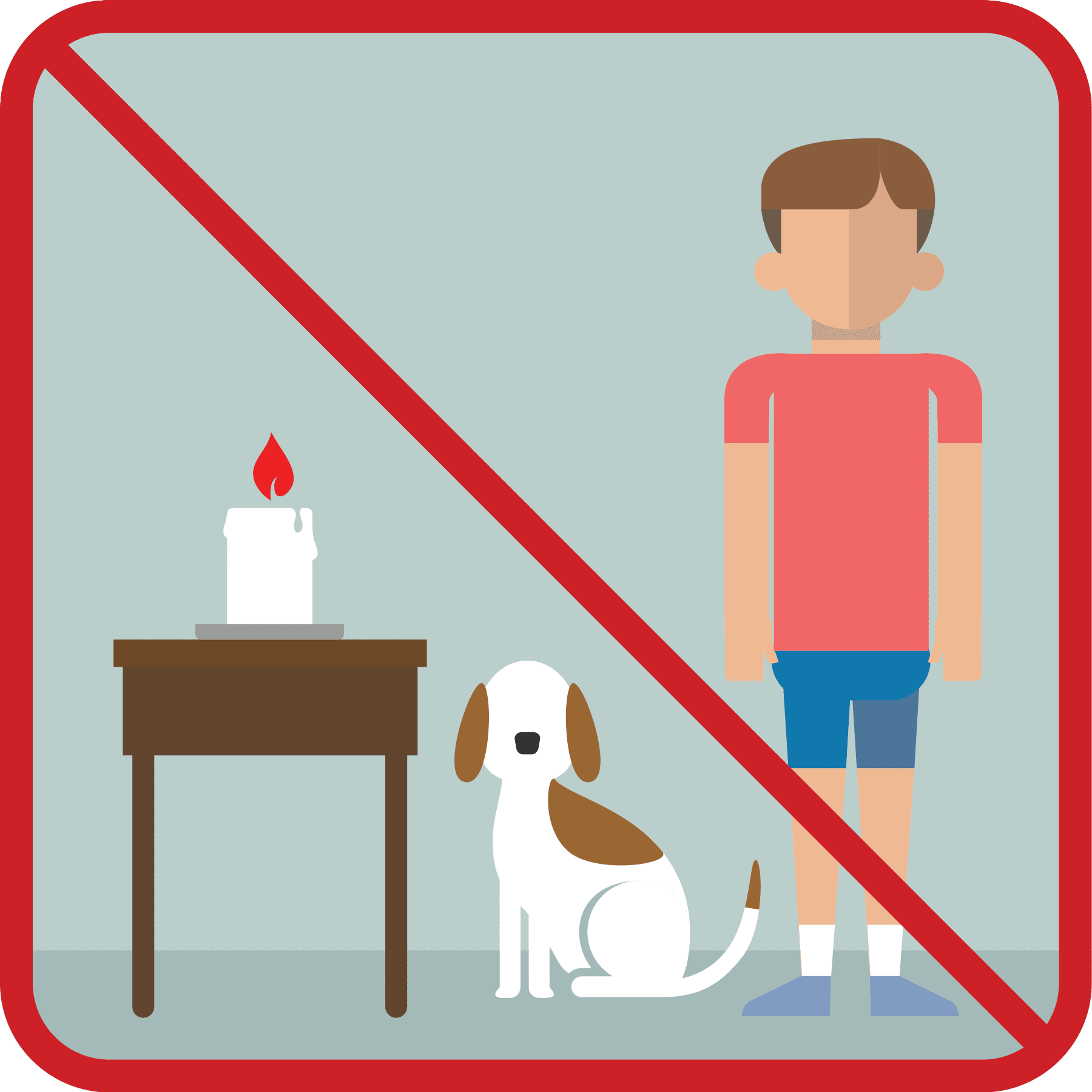 A candle next to a dog and boy with a no sign over it.