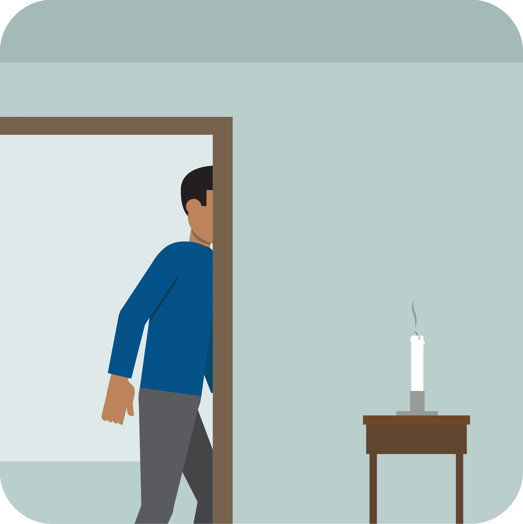 An extinguished candle and a man leaving a room.