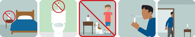 This pictograph tells you not to light candles in bedrooms or bathrooms.