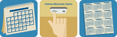 Monthly calendar showing a green check and test prompt. Hand pushing test button on carbon monoxide alarm. Calendar to show testing every month.