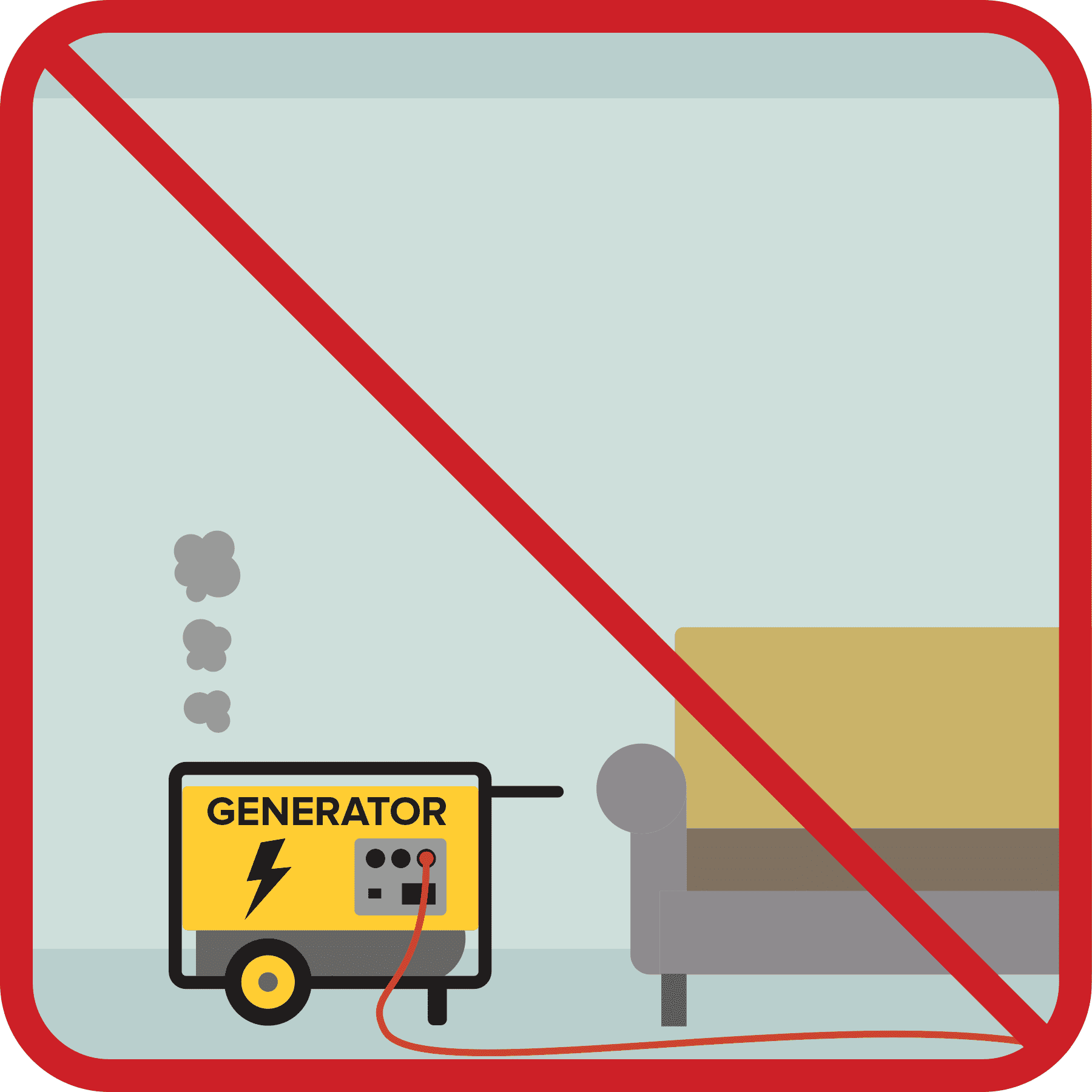 Generator inside a home with a red no sign.
