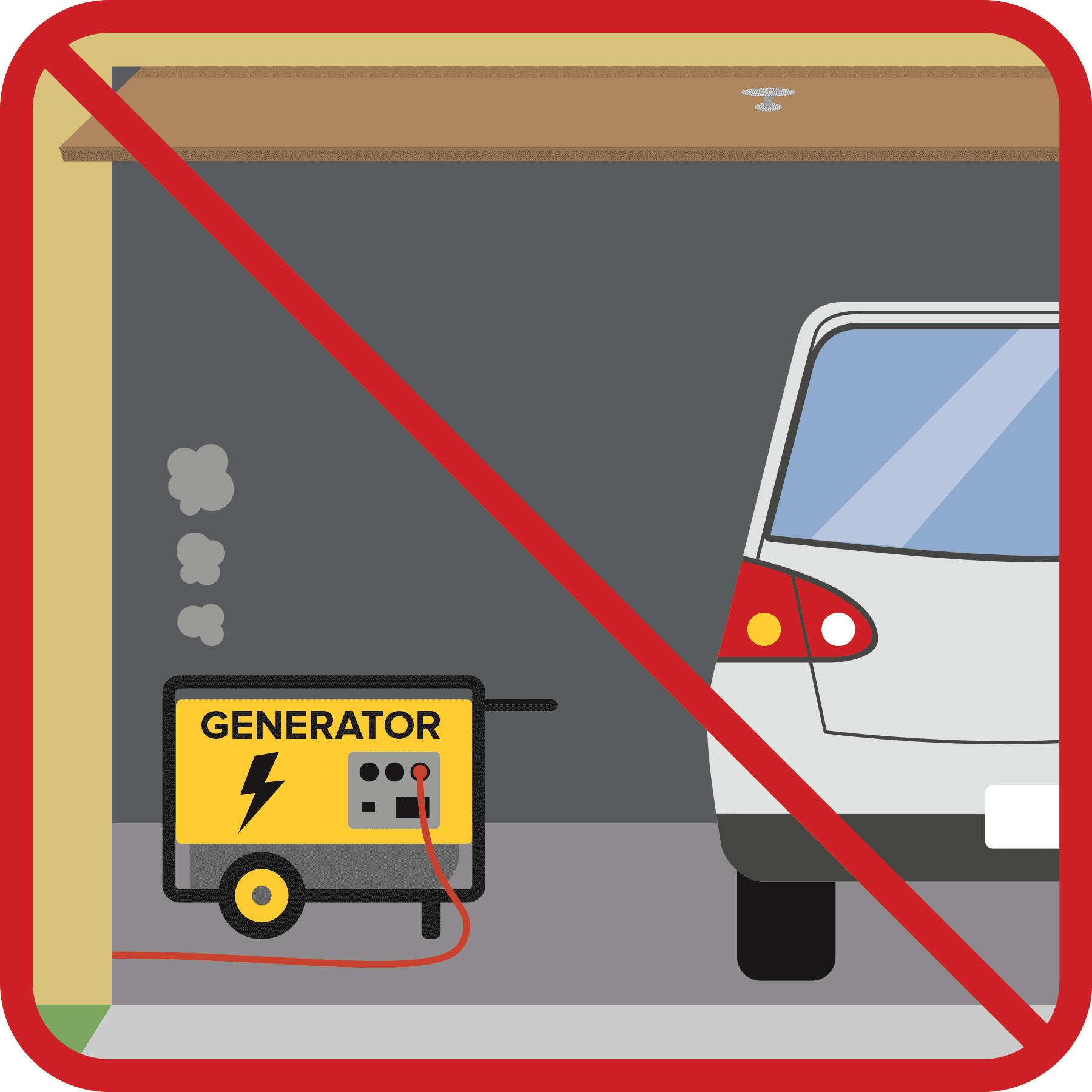Generator inside a garage with the door open with a red no sign.