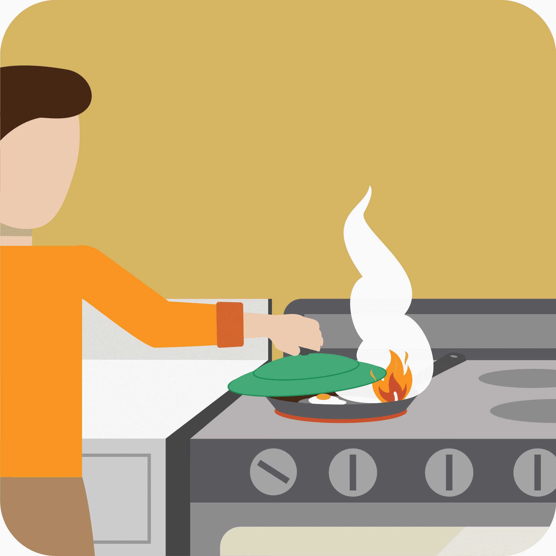 Woman placing lid on a pan that is on fire.