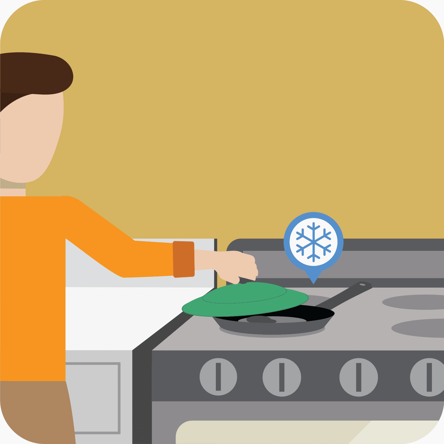Woman lifts up lid when the pan is cool indicated by a snowflake above the pan.