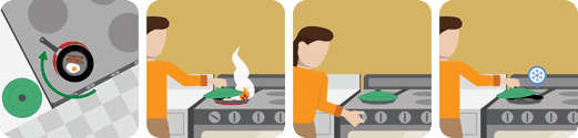 illustration of a woman putting out a grease fire on a stove