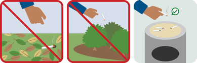 Cigarettes being dropped in leaves or bushes with a red x over them. Cigarette put out in an ashtray filled with sand.
