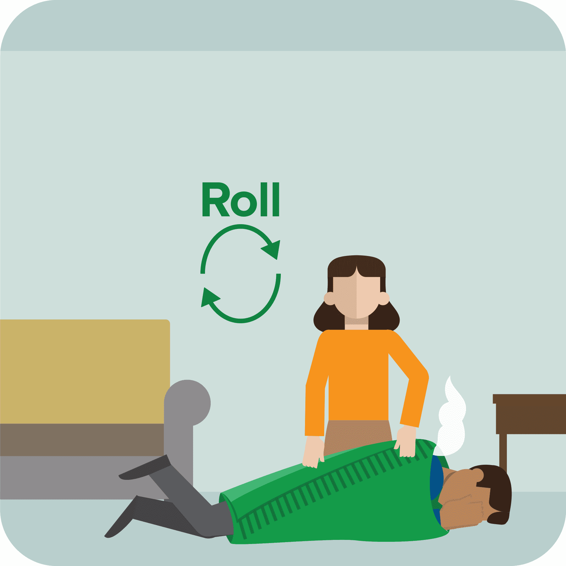 Woman helps man roll on the ground.
