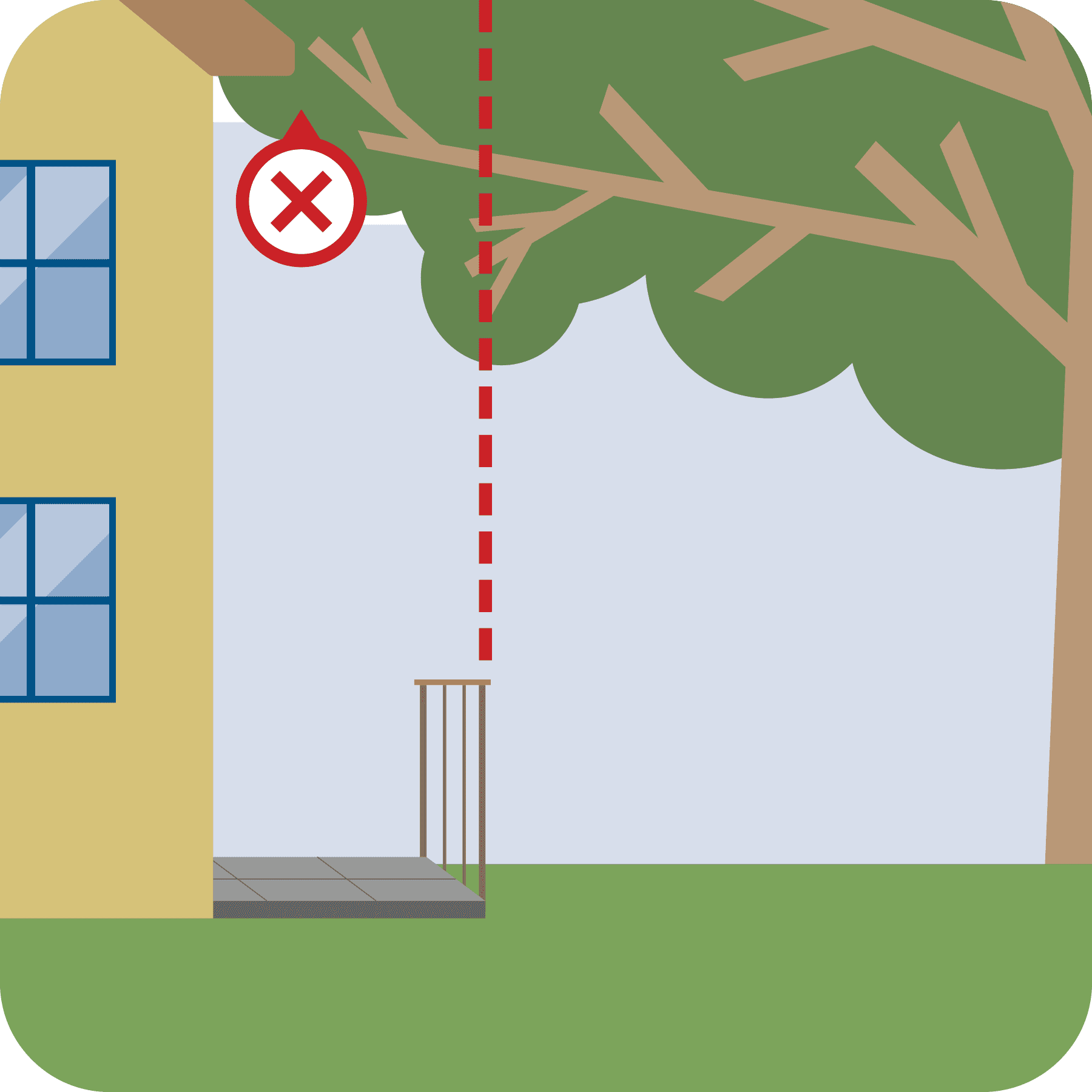 Red line to show tree branches touching the house is not good.
