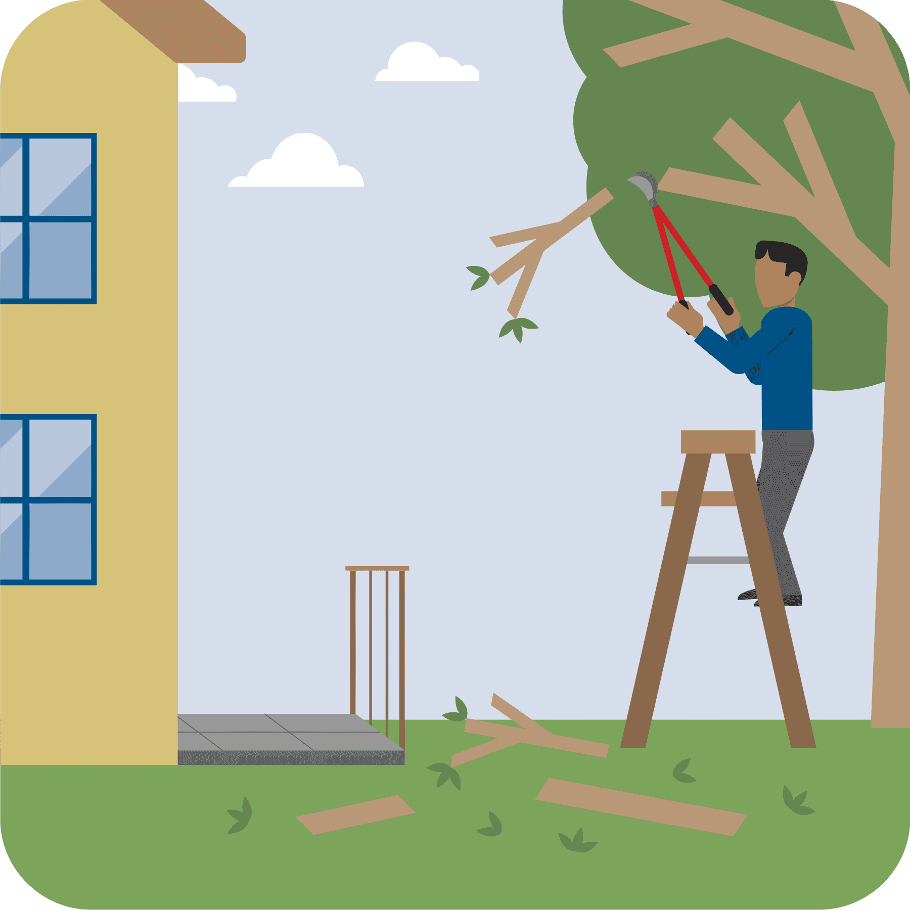 A man on a ladder trimming the branches touching the house.