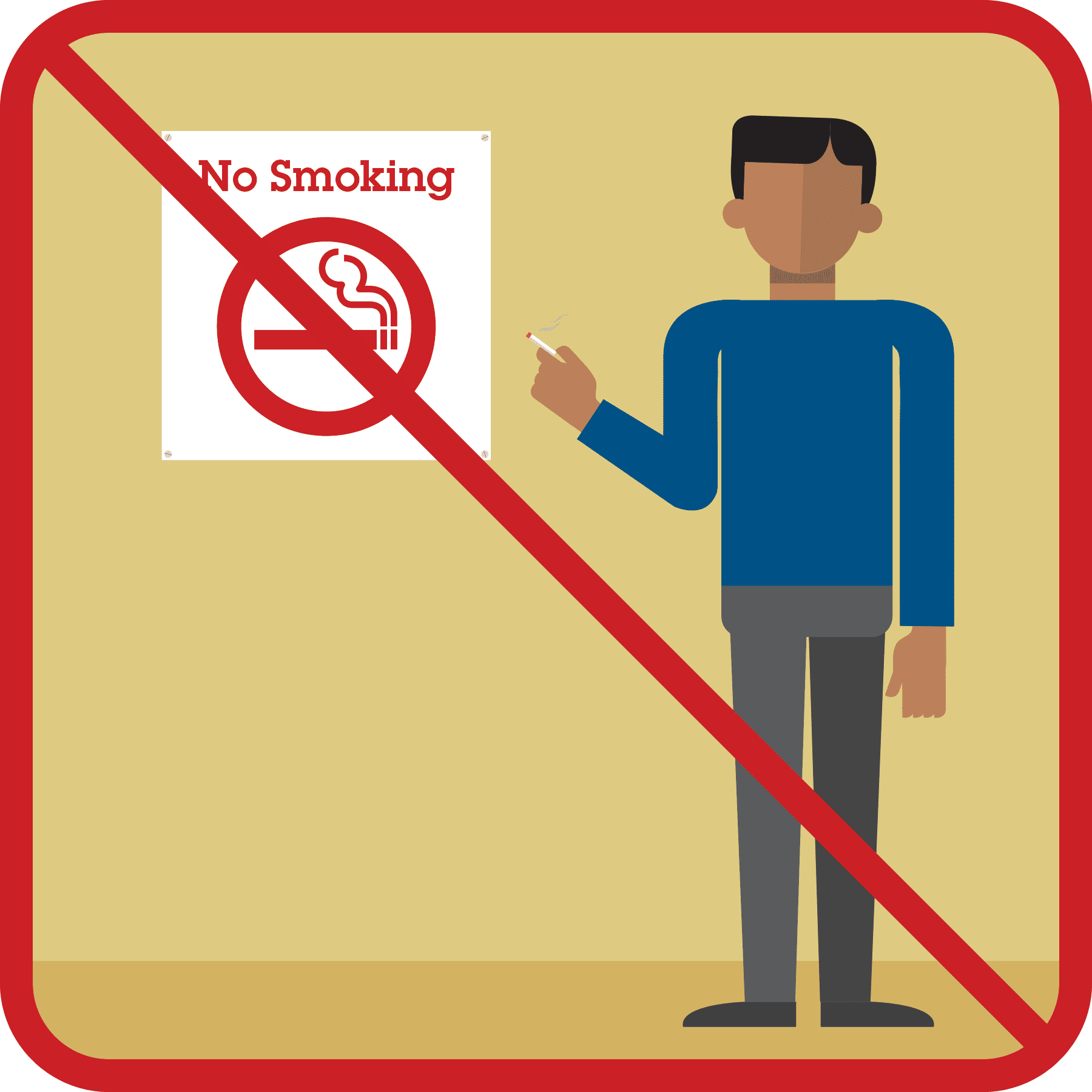 Man standing with a cigarette in front of a no smoking sign. A red x appears.