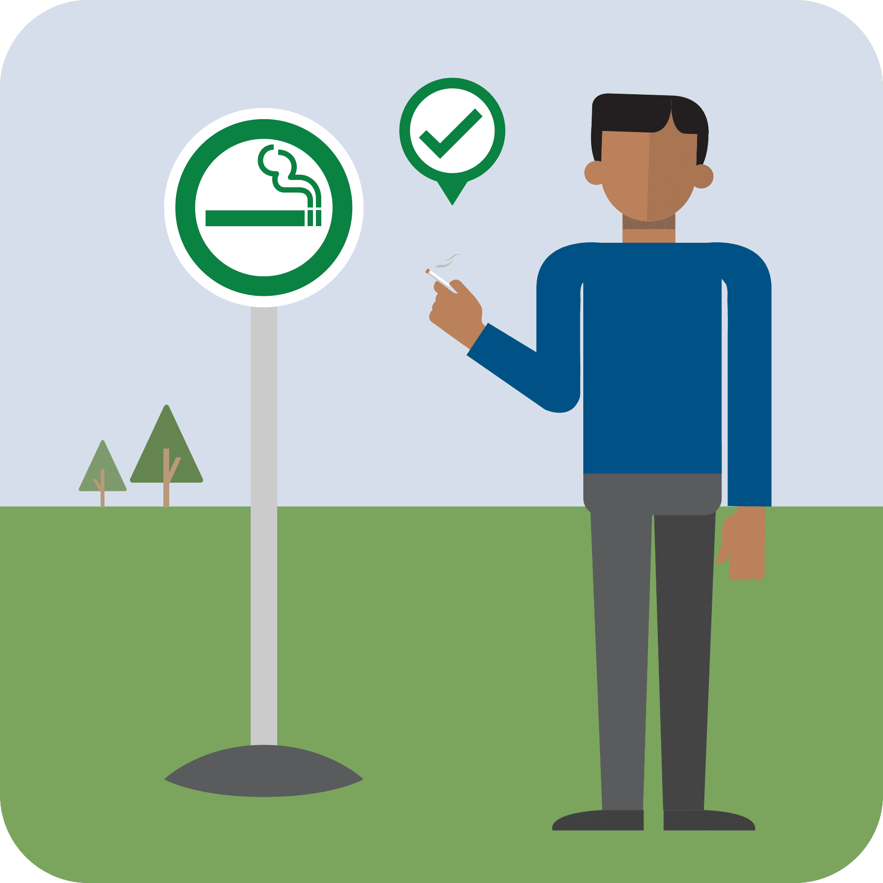 The no smoking sign turns into a green smoking sign. Man with cigarette appears with a green check.