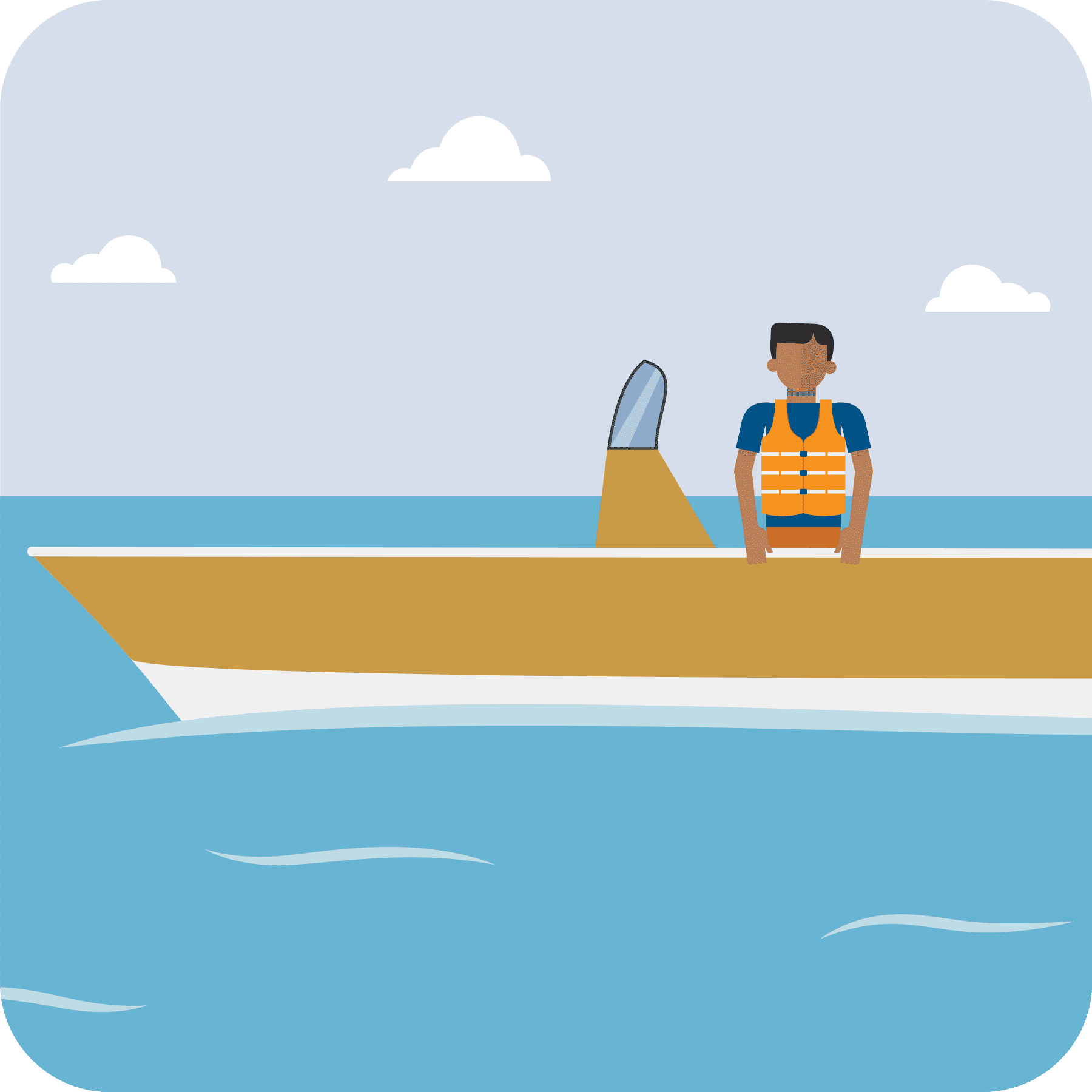 Man on a boat wearing a life jacket.