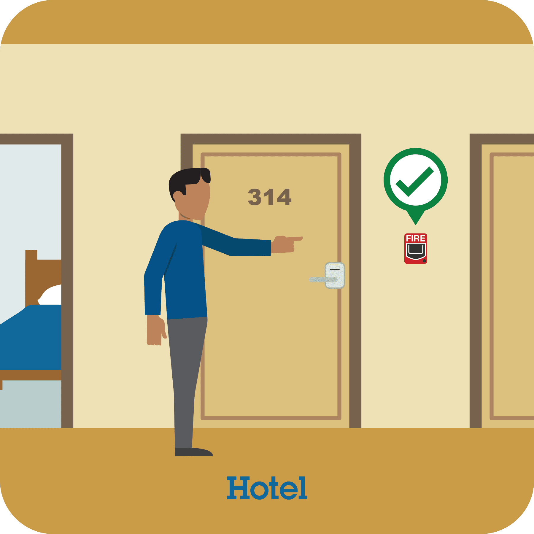 This pictograph shows a man finding a fire alarm on his hotel floor.