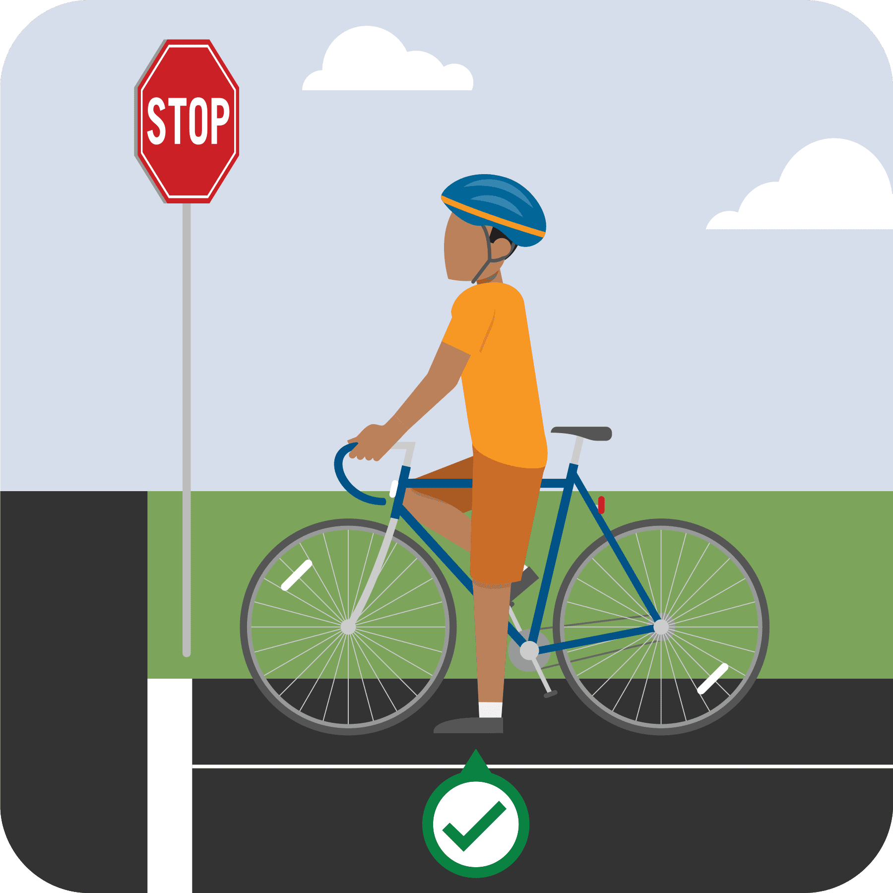 Bicyclist at stop sign.