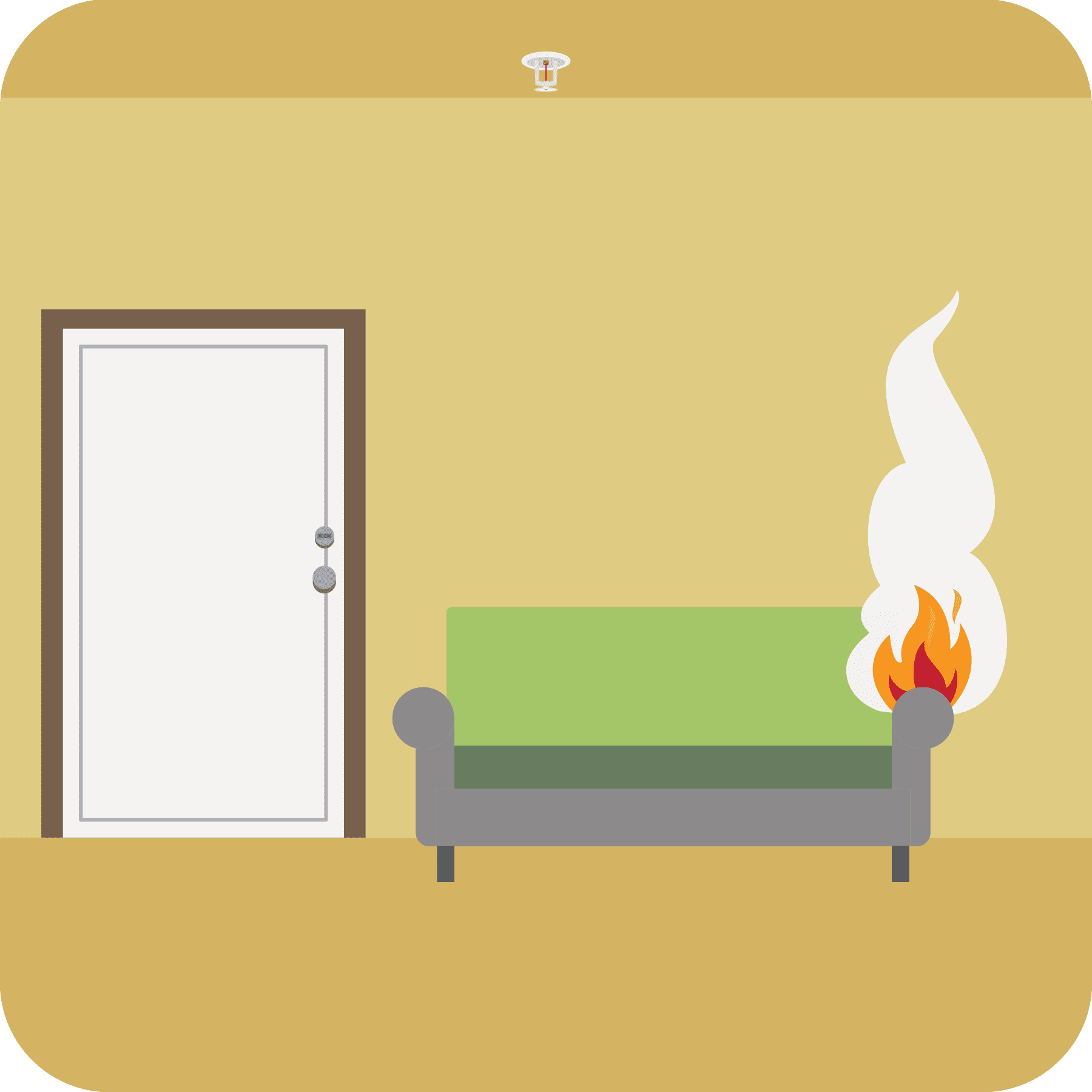 A fire starts on a living room couch.