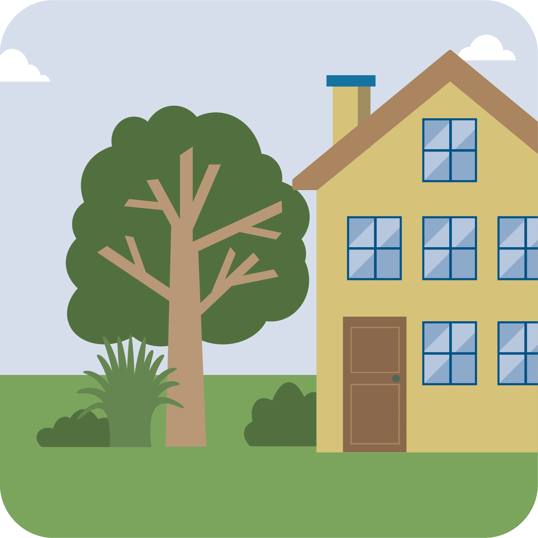 Illustration of a house and yard with a large tree and bushes.