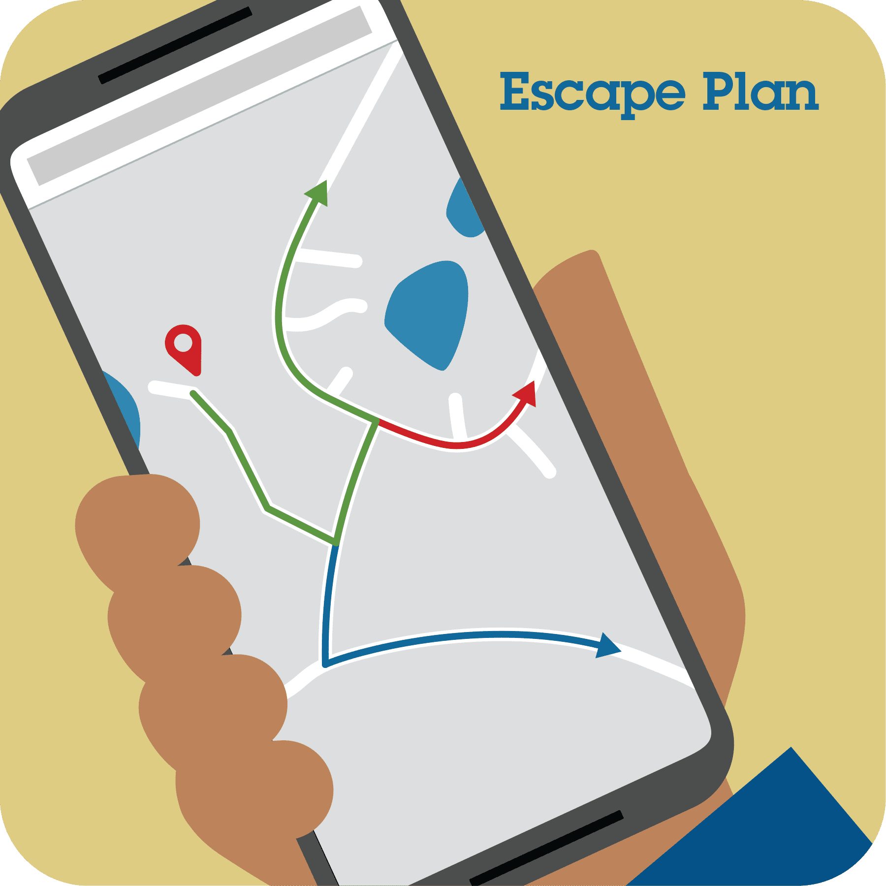 A mobile phone showing a map with an escape route.