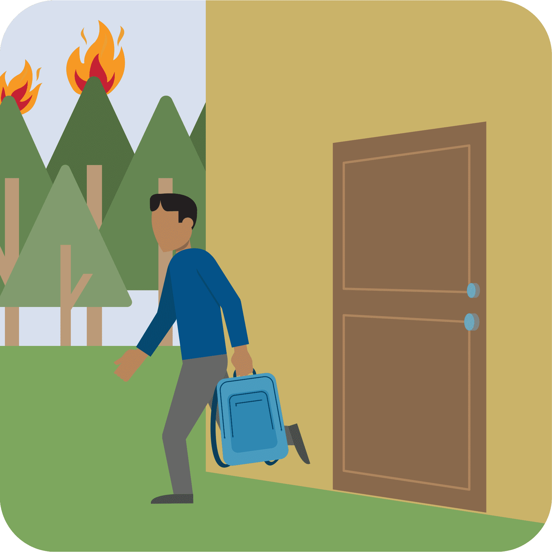 A man is shown leaving his house with a kit. A wildfire is shown in the background.