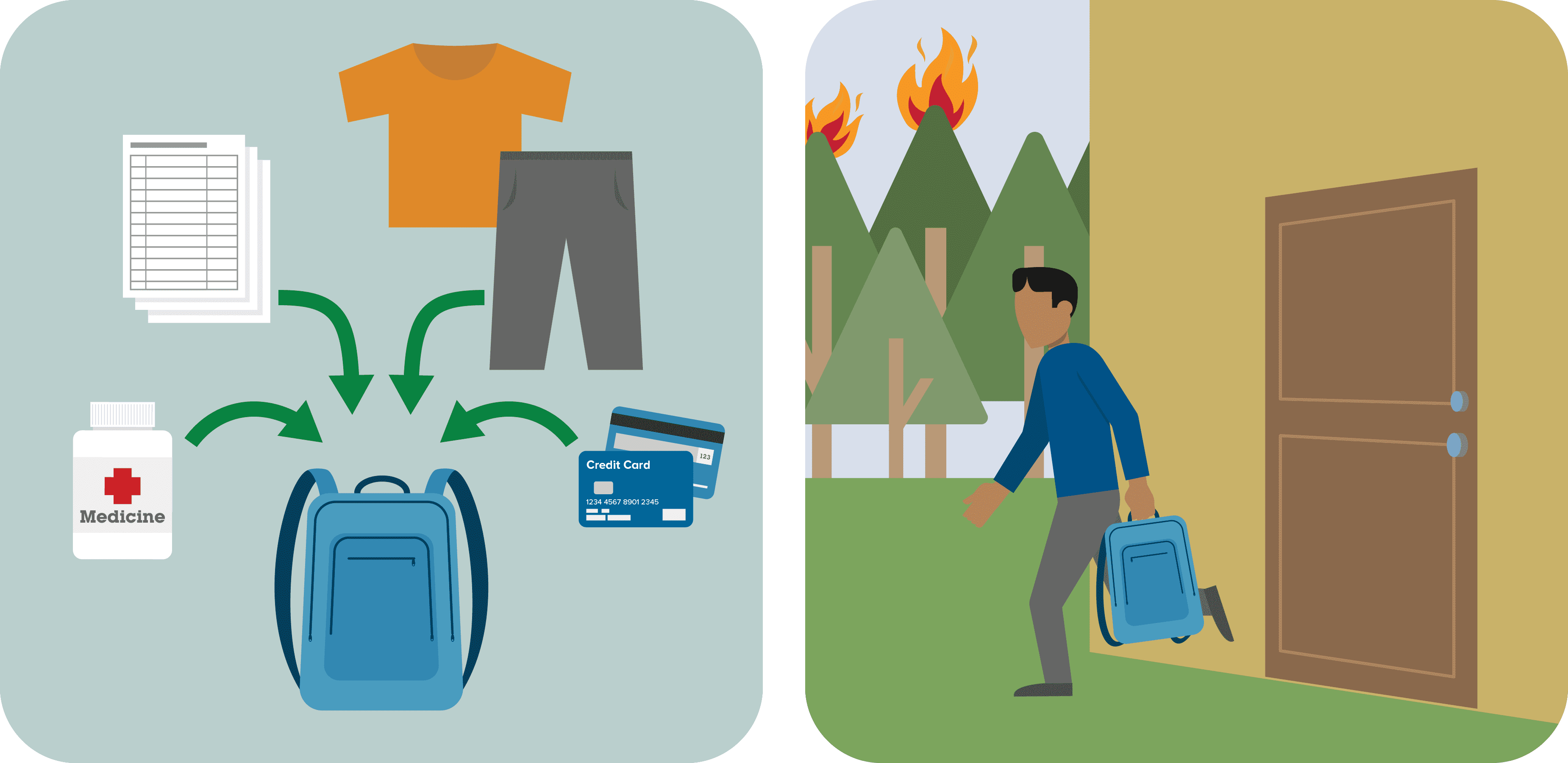 graphic showing a wildfire prepacked kit and a man leaving his home with the kit