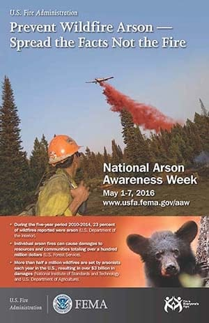 image of 2016 National Arson Awareness Week poster