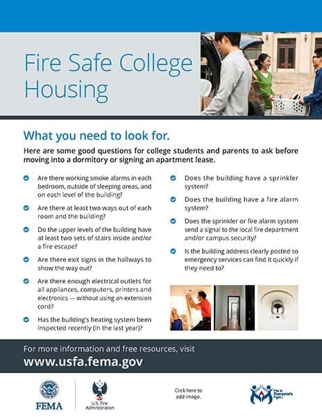 campus fire safety flyer