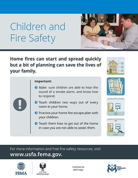 children and fire safety flyer