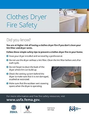 clothes dryer fire safety flyer