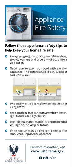 electrical and appliance fire safety card - back
