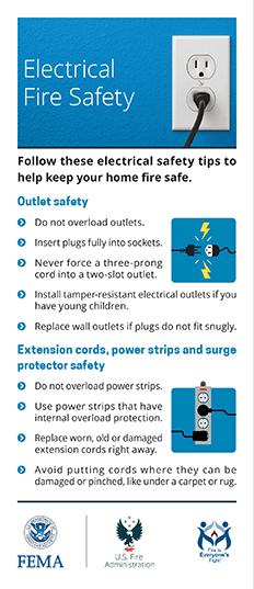 electrical and appliance fire safety card - front