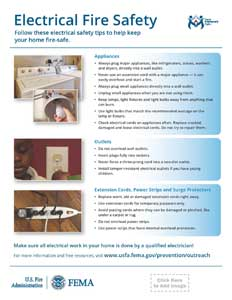 electrical fire safety vertical handout