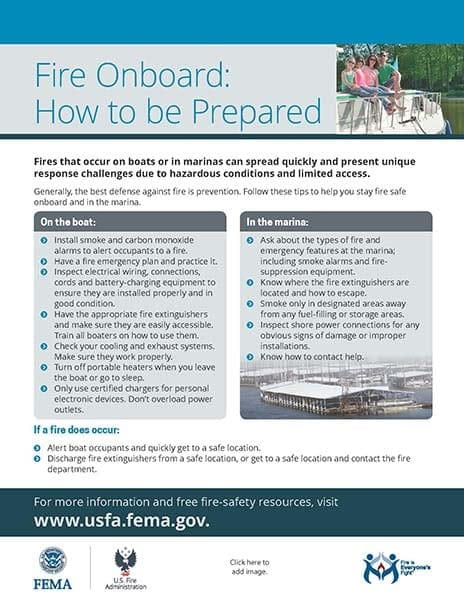 boat and marina fire safety handout