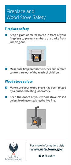 fireplace and woodstove fire safety card - back