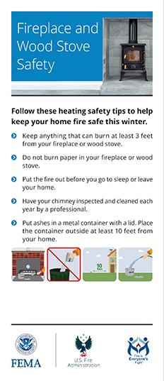 fireplace and woodstove fire safety card - front