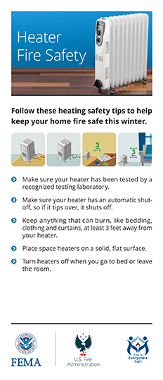 heating fire safety card - front