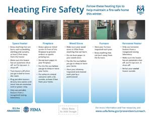 heating fire safety handout - horizontal version