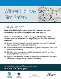 Holiday fire safety handout