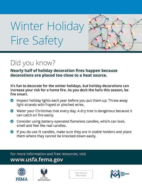 holiday fire safety flyer