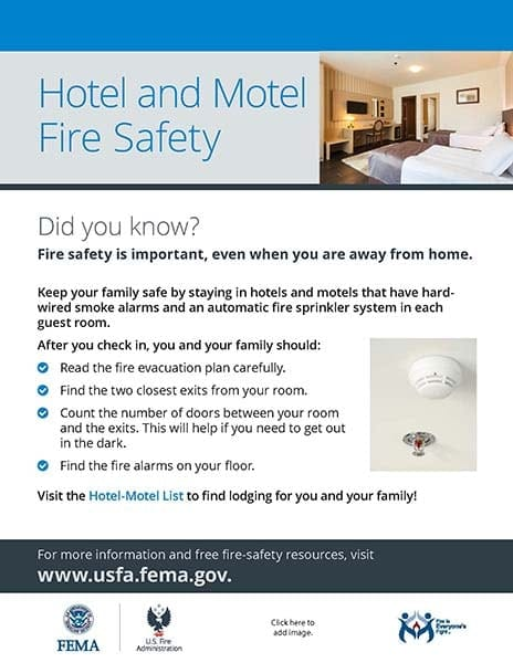 hotel and motel fire safety handout