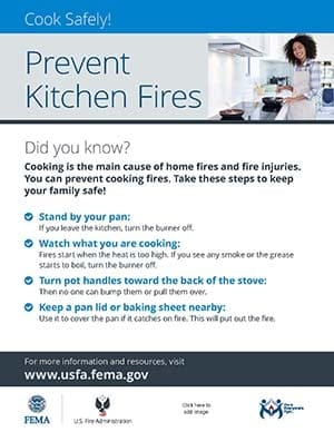 cooking fire safety handout