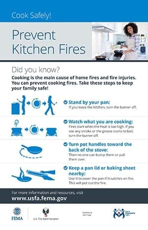 prevent kitchen fires poster