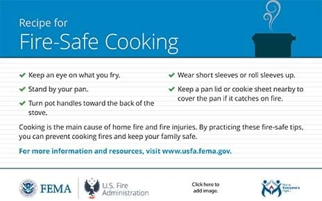 cooking fire safety recipe card