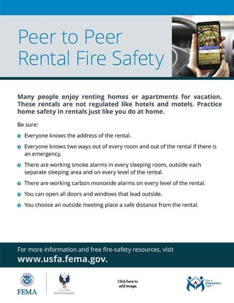 peer to peer rental fire safety flyer
