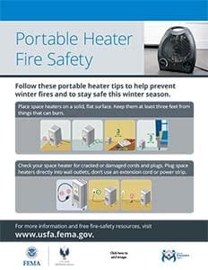 portable heater fire safety flyer