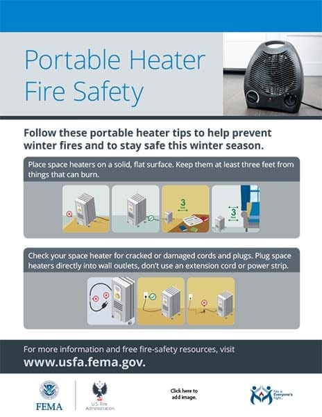 portable heater fire safety handout