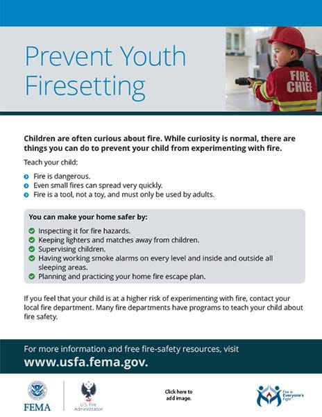 prevent youth firesetting flyer