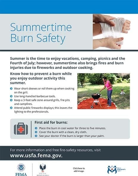 summer burn safety handout
