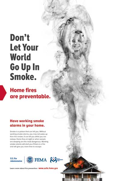 up in smoke - smoke alarm poster